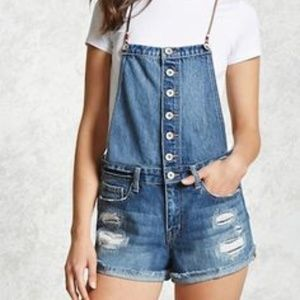 Forever 21 Leather Straps Shortalls Distressed 27